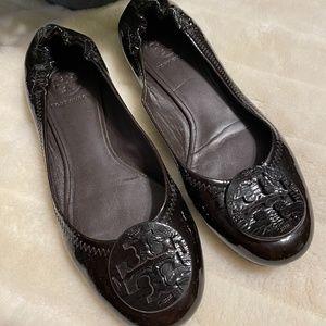 Tory Burch Black Patent Leather Reva Flats 7.5